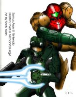 Samus and the Chief by c-force