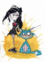 creepy lady and her cheshire cat by nekroworld-AgL