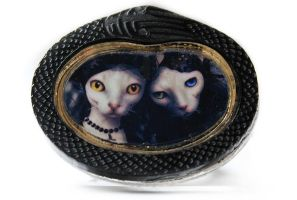 Laser Cut Acrylic Art Print Ring - Mourning Cats by asunder