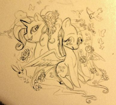 rarity and fluttershy in the garden by JBRID