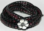 Bleeding Hearts, Garnet and Leather Wrap Bracelet by Secretvixen