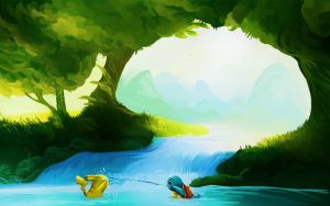 Pikachu and Squirtle have fun by andrework
