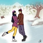 Stan and Wendy Ice Skating on Stark's pond by KatzeLexie