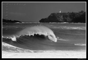 Lighthouse With Wave by aFeinPhoto-com