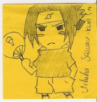 Uchiha Sasuke on a post-it xD by AryaHiwatari