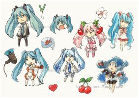 Hatsune Miku sticker set by LonelyFullMoon