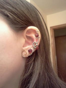 Red Beaded Ear Cuff by FourMapleLeaf