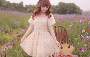 Puff-Sleeve Frilled Lace Dress H23046 by littlepawfashion