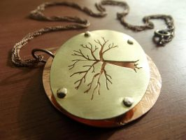 Tree Necklace with Brass and Copper by MoonLitCreations
