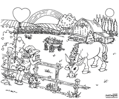 The lovely farm - lineart by JadeDragonne