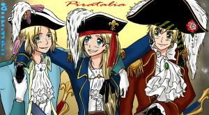Pirate!France, Pirate!Auvergne and Pirate!England by GueparddeFeu