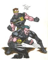 Ultimate Cyclops and Wolverine by jlbhh1977