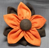 Orange Fall Fabric Flower Hair Barrette by jenlucreations