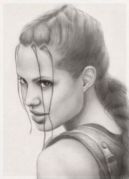Lara Croft AJ portrait by redfill
