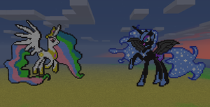 Minecraft Day and Night Ponies by aprilgoddess