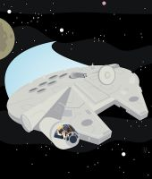 Millennium Falcon with Han Solo and Chewbacca by Eyemelt