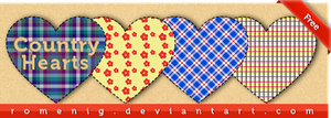 Country Hearts Png Set by Romenig