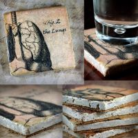 The Lungs Drink Coasters, handmade, tumbl by NeverlandJewelry