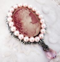 Pink Cameo and Pearls Brooch by Aranwen