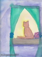 The Kitty in the Window by theOrangeSunflower
