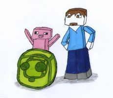 Minecraft drawing - Steve Co. by lava1o