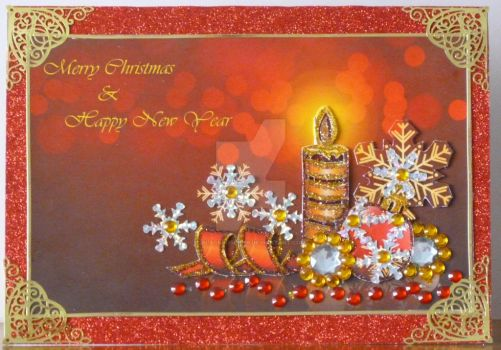 Candles in Red Gold and Silver with Snowflakes by blackrose1959