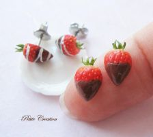 strawberry stude earrings2 -Petite Creation by PetiteCreation
