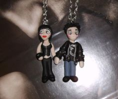 Punk bill n Biker Sookie necklaces for charity by spaztazm