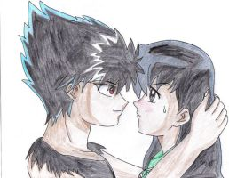 Hiei and Kagome Trapped by RaiTerra