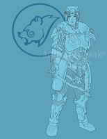-Skyrim Nord Commission Lineart- by ArtificiallyAwake