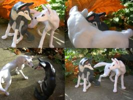 Jinx And Sparx Wolf Sculptures by WildSpiritWolf