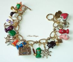 Wind Waker GT Bracelet Hand Sculpted Charms Zelda by TorresDesigns