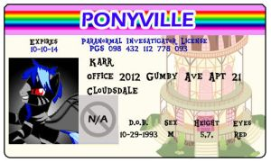 Karr Ponyville License by Shadowpredator100
