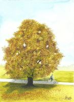 Cycling Past the Tree by aakritiarts