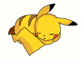 sleeping pikachu by evilfliqpy