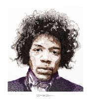 Colorized Jimi Hendrix WordArt by JohnStJohnArt