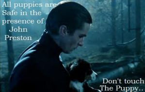 Christian Bale: Puppies SAFE by Princess-Kraehe