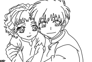 Kyo Kara Maoh!: Greta and Yuuri - LineArt by UsagiTail