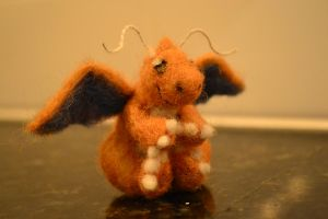 Needle Felted Dragonite by feltieflaffy
