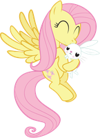 Fluttershy Kissing Angel by arcticjuniper
