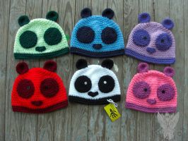 Panda Beanies by TheCrochetDragon