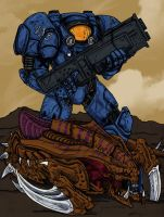 Terran Marine by Megas-SF sketch coloured by KodyYoung