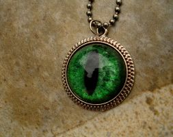 Green Glow in the Dark - Dragon Evil Eye Charm by LadyPirotessa