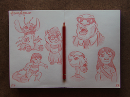 Animation Sketches - Lilo n Stitch by AngelGanev