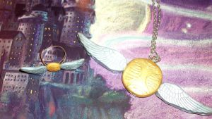Golden Snitch Necklace and Ring set  FOR SALE by TashaAkaTachi