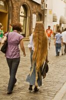 Woman with very long hair by ssieb74