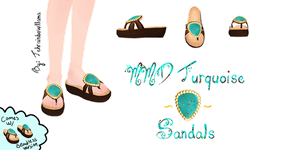 MMD Turquoise Sandals by Tehrainbowllama