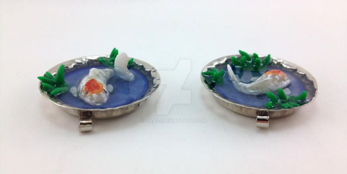 Koi in the Grass Pendants by saaio
