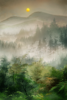Speedpainting #5 - foggy forest by Clovernight