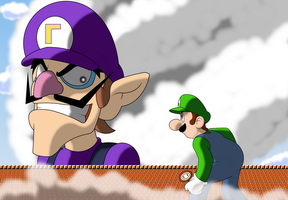 BSC Request: Attack on Waluigi! (Inked + Youtube) by ADHedgehog